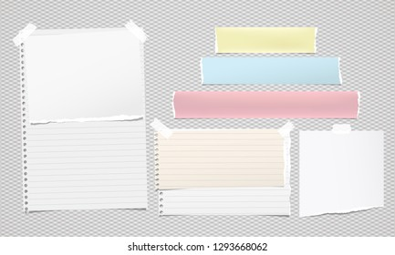 Colorful and white ripped notebook paper, torn note paper strips stuck on grey background. Vector illustration