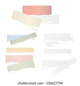 Colorful and white ruled pile torn note, notebook paper sheets
