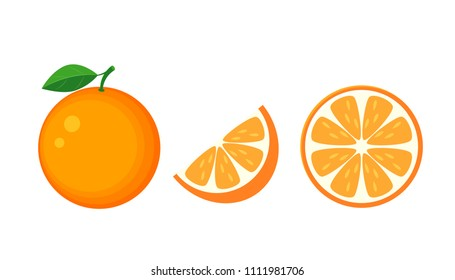 Colorful whole, half and slice orange with green leaf. Vector illustration isolated on white background.