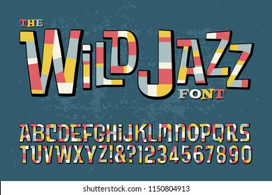 A colorful, wild and bouncy retro alphabet that is reminiscent of jazz albums from the 50s and 60s.