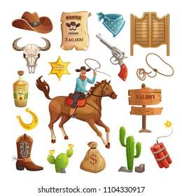 Colorful wild west elements set.Wild west, cowboy, horse, revolver, skull, cacti, lasso, hat, poster, sheriff's star, saloon door. Cartoon vector cowboy collection.