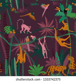 Colorful wildlife animals print. Seamless pattern with monkey, leopard, lemur, toucan and parrot in wild jungle forest.