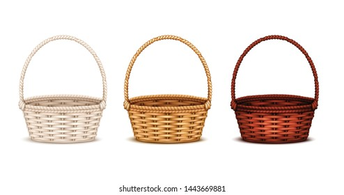 Colorful willow wicker baskets set of white natural and dark stained wood 3 realistic isolated images vector illustration