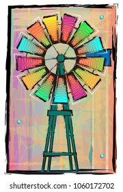 Colorful windmill on an abstract background. Eps10