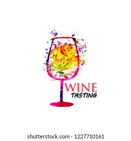 Colorful wine glass background flat vector illustration. Party flyer, wine tasting event, wine festival and celebrations, restaurant poster design for brochure, invitation card, menu, promotion banner