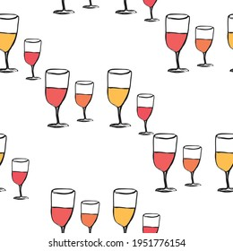 colorful wine glasses  seamless pattern background  vector eps.10