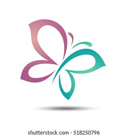 Colorful Wings Beauty Butterfly Vector Logo Template