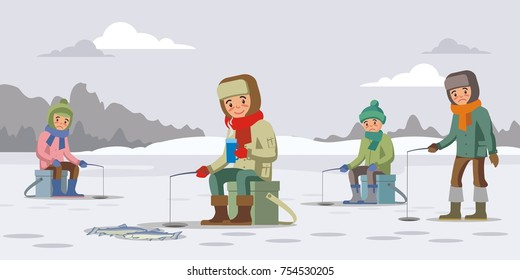 Colorful winter fishing concept with fishermen catch fish using rod on ice lake vector illustration