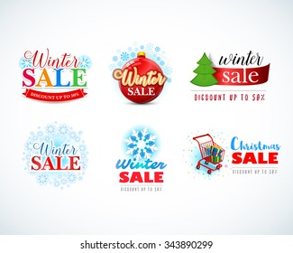 Colorful Winter Sale emblems, logotypes, badges collection. Christmas sale logo. New year sale set. Isolated Vector illustrations.