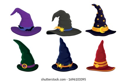 Colorful Witch and Wizards Hat with Belt and Pointed Cap Vector Set
