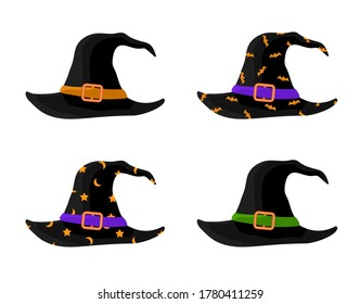 Colorful Witch and Wizards Hats with Belt. Halloween costume. Set of vector illustration in flat style.