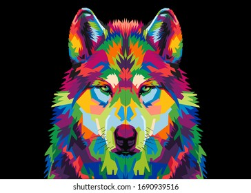 colorful wolf's head  on a black background in pop art style.