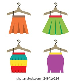 Colorful Women Skirts With Hangers Vector Illustration