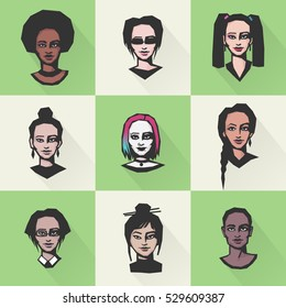 Colorful women's faces, different face features, ethnicity, nationality. Flat design vector clip-art.