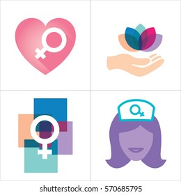 Colorful Women's Services Icon with Female Symbol
