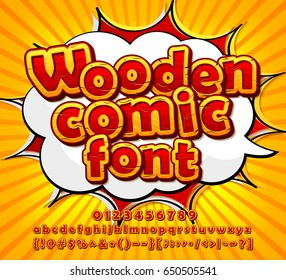Colorful wooden font on comic book page. Alphabet in style of comics, pop art. Cartoon multilayer letters and figures for decoration of kids' illustrations, game design, ui development, comics, banner