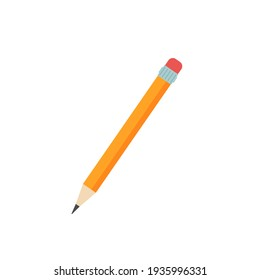 Colorful wooden pencil for drawing, icon isolated on white. Cartoon flat style. Vector illustration.