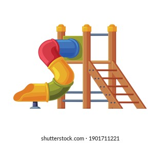 Colorful Wooden Slide with Tube and Ladder on Playground Vector Illustration