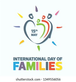 Colorful word of international day of families with abstract people shape love. Design letter international day of families for element design. Vector illustration EPS.8 EPS.10