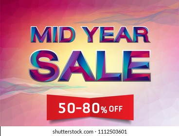 The Colorful word Mid Year Sale Vector illustration.