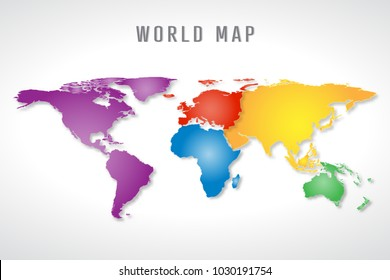 colorful world map background. vector illustration.