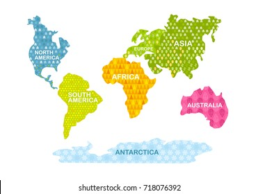 Colorful World map. Continents with patterns. Africa, America, Asia, Europe, Australia, Antarctica
