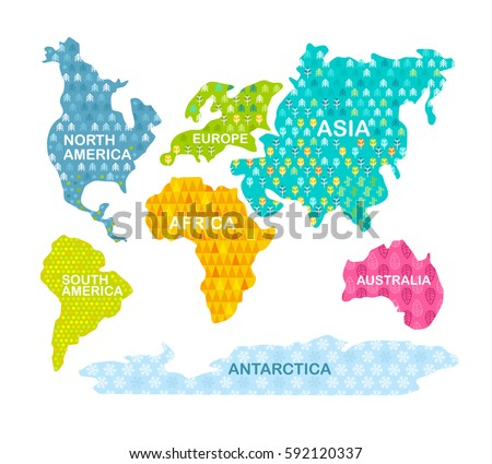 Colorful World Map Continents Patterns Africa Stock Vector Royalty