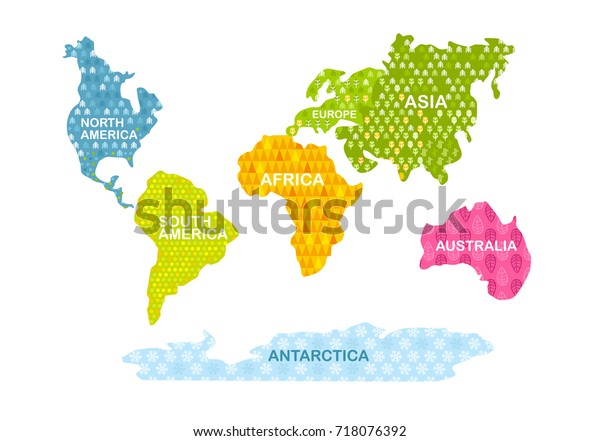 Colorful World Map Continents Patterns Africa Stock ...