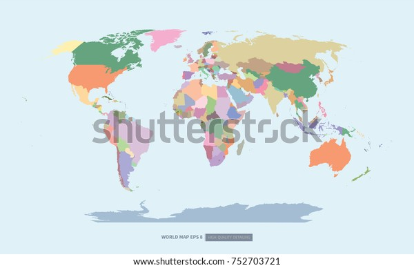 Colorful World Map High Quality Detailing Stock Vector ...