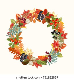 Colorful wreath of autumn leaves and berries isolated on white background. Vector realistic illustration.