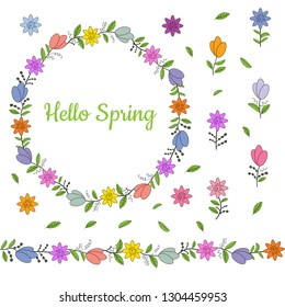 Colorful wreath made from different spring flowers and leaves. Beautiful welcoming lettering. Endless horizontal brush. Seamless horizontal border. Vector hand drawing illustration.