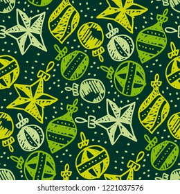 Colorful xmas tree baubles seamless pattern. Christmas holiday simple hand drawn motif. Winter cute wrapping paper design.