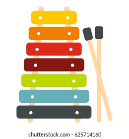 Colorful xylophone toy and sticks icon. Flat illustration of xylophone vector icon isolated on white background