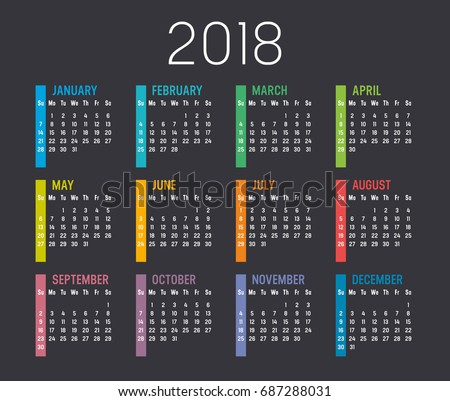 colorful year 2018 calendar vector template