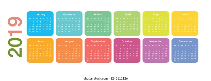 Colorful Year 2019 calendar horizontal vector design template, simple and clean design. Calendar for 2019 on White Background for organization and business. Week Starts Monday.