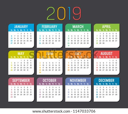 Colorful year 2019 calendar isolated on a dark background