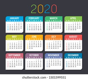 Colorful year 2020 calendar isolated on a dark background