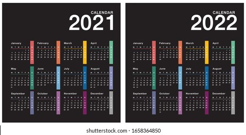 Colorful Year 2021 and Year 2022 calendar horizontal vector design template, simple and clean design. Calendar for 2021 and 2022 on White Background for organization and business. Week Starts Monday.