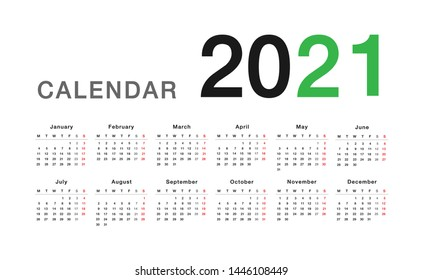 Colorful Year 2021 calendar horizontal vector design template, simple and clean design. Calendar for 2021 on White Background for organization and business. Week Starts Monday.