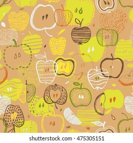 Colorful yellow fun seamless vector pattern with hand drawn apples
