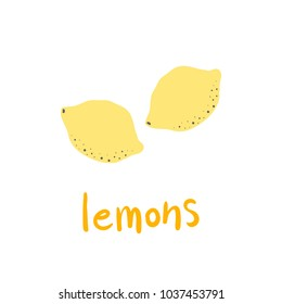 Colorful Yellow Lemons Cartoon Flat Style Vector Illustration Isolated on White Background