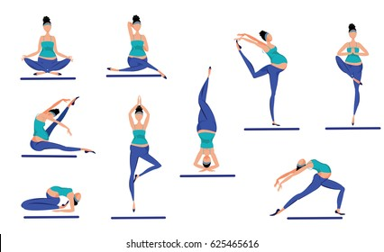 Colorful yoga poses set with pregnant women meditating and training in various positions isolated vector illustration