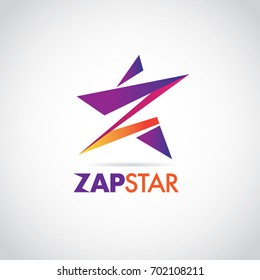 Colorful Zap Star With Letter Z Logo Sign Symbol Icon