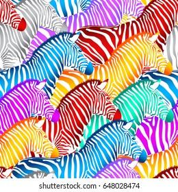 Colorful zebra seamless pattern. Wild animal texture. design trendy fabric texture, illustration.