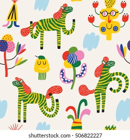 Colorful zebras. Seamless vector background