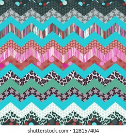 colorful zigzag print mixing seamless background