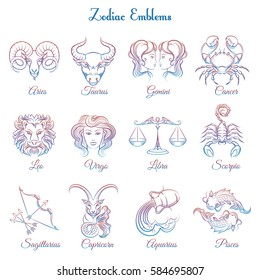 Colorful Zodiac emblems collection isolated on white backdrop. Vector illustration
