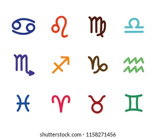 colorful zodiac outline stylized sign horoscope vector illustration EPS10