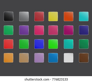 Colorfull app icon set. Button glossy or Color palette.