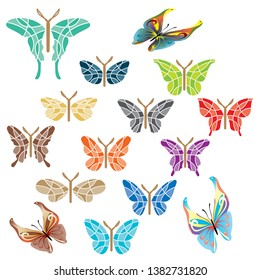 Colorfull butterfly design vector arts traditional